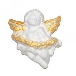 Aniołek ze złotymi skrzydłami i kwiaty figurka 8 cm