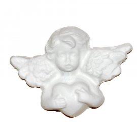 Aniołek z sercem gipsowa figurka 8 cm