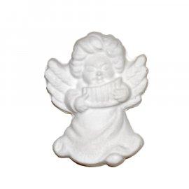 Aniołek ze skrzydłami i fletnią gipsowa figurka 7 cm