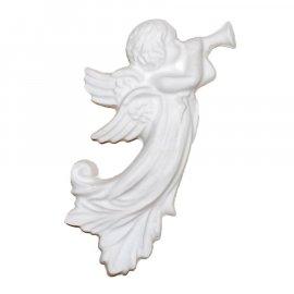 Aniołek z trąbką gipsowa figurka 15,5 cm