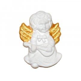 Aniołek ze złotymi skrzydłami gitara gipsowa figurka 7 cm