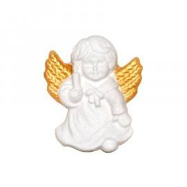 Aniołek ze złotymi skrzydłami świeca gipsowa figurka 7 cm