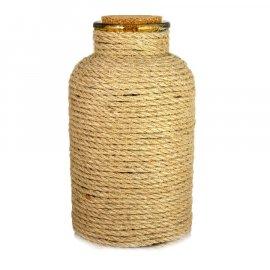 Dekoracyjna butelka szklana ze sznurem 26,5 cm