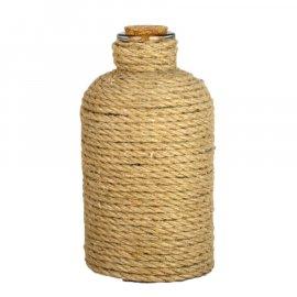 Dekoracyjna butelka szklana ze sznurem 16,5 cm