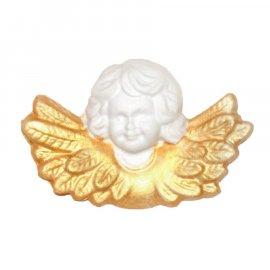 Aniołek ze złotymi skrzydłami gipsowa figurka 8 cm