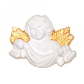 Aniołek ze złotymi skrzydłami z szarfą gipsowa figurka 7 cm