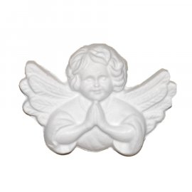 Aniołek ze skrzydłami modlący się gipsowa figurka 8 cm