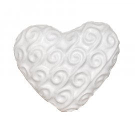 Serce z falami gipsowa figurka 6,5 cm