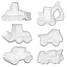 6 szt. maszyny budowlane koparki gipsowe figurki 9 cm
