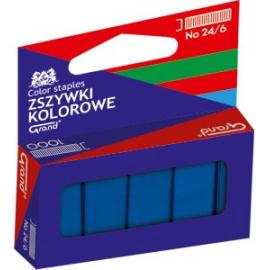 Zszywki kolorowe 24/6 niebieskie  GRAND 1000 szt