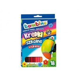 Kredki szkolne trójkątne 18 kolorów BAMBINO