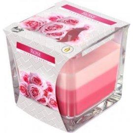 Świeca zapachowa Trójkolorowa w szkle Róża