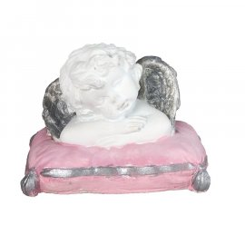 Figurka gipsowa Aniołek na różowej poduszce