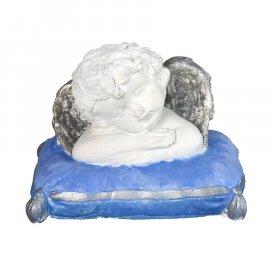 Figurka gipsowa Aniołek na niebieskiej poduszce