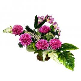 Kompozycja kwiatowa wieniec w doniczce na grób