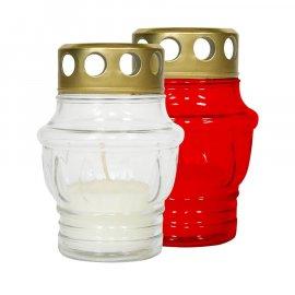 Znicz czerwony szklany mały 10h Bispol