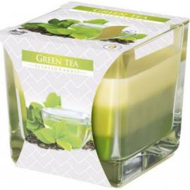 Świeca zapachowa Trójkolorowa w szkle Zielona Herbata Bispol