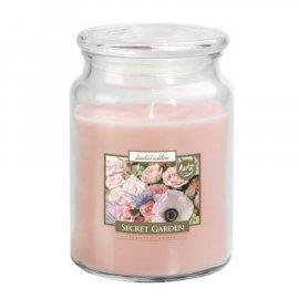 Świeca zapachowa Secret Garden w szkle z wieczkiem Bispol