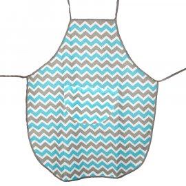 Fartuszek kuchenny dziecięcy z kieszonką zygzak niebiesko-szary