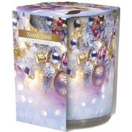 Świeca zapachowa w szkle i folii Świąteczny czas 22h Bispol