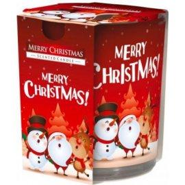 Świeca zapachowa w szkle i folii Wesołych Świąt 22h Bispol