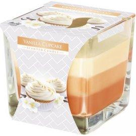 Świeca zapachowa Trójkolorowa w szkle ciasteczko waniliowe Bispol