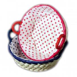 Koszyk Palma okrągły w groszki z uszkami Domotti