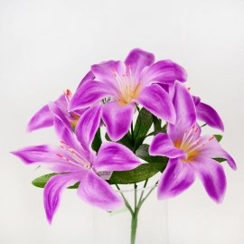 Kwiat Sztuczny - bukiet fioletowych Lili