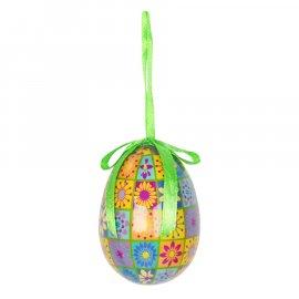 Jajko kolorowe z wstążką do powieszenia 7 cm