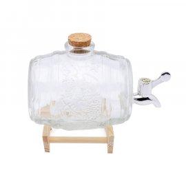 Beczka szklana na stojaku Tadar Jack z korkiem i kranikiem 1 l