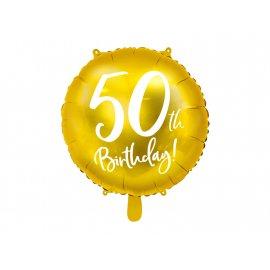 BALON 50TH BIRTHDAY ZŁOTY 45CM