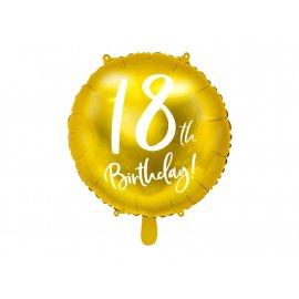 BALON 18TH BIRTHDAY ZŁOTY 45CM