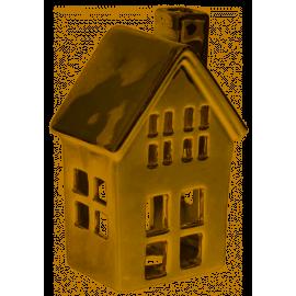 Domek świecznik na świeczkę tealight złoty mały