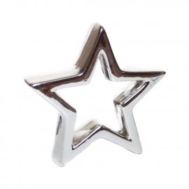 Gwiazda dekoracyjna ceramiczna srebrna