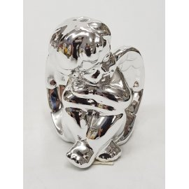 Figurka ceramiczna aniołek srebrna 8cm