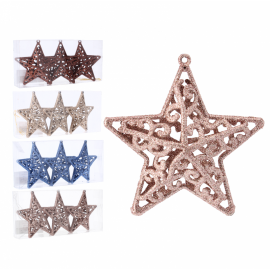 Komplet 3 ozdób choinkowych gwiazda 10.5cm