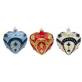 Bombka szklana serce mix kolorów