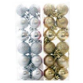 Zestaw bombek mini 12 szt. mix srebrne/złote