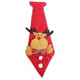 Krawat świąteczny na gumce mix Mikołaj/Renifer