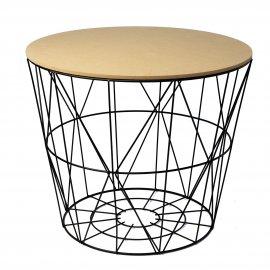Duży stolik kawowy z funkcją kosza druciany okrągły