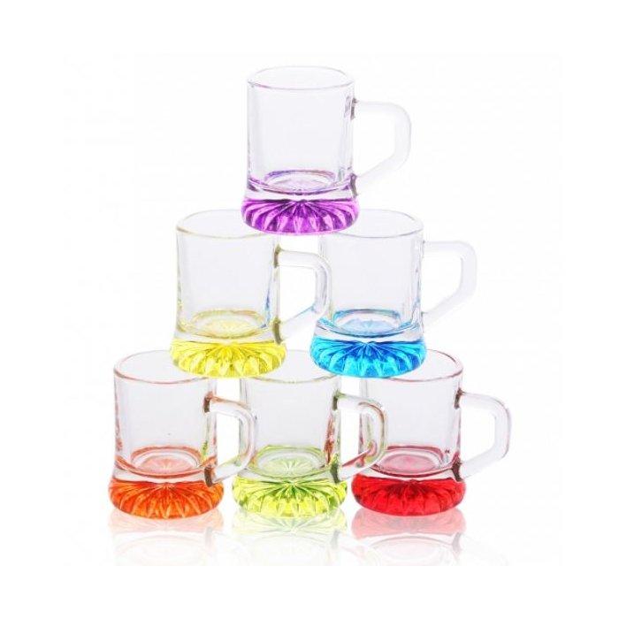 Kieliszki do wódki kufelki 30ml kolorowe dno GLASMARK