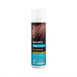 Szampon z keratyną, argininą, kolagenem do włosów matowych i łamliwych Dr Sante