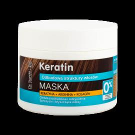 Maska z keratyną, argininą, kolagenem do włosów matowych i łamliwych dr Sante