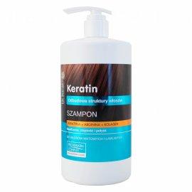 Szampon z keratyną, argininą, kolagenem do włosów matowych i łamliwych z pompką dr Sante