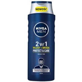 Szampon Nivea 2w1 Protect&Care Włosy+broda MEN 400ml Dzień Ojca