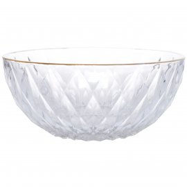 Szklana miska glamour ze złotym brzegiem średnia 19,5x19,5x8,5cm