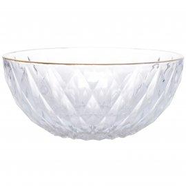 Szklana miska glamour ze złotym brzegiem duża 22,5X22,5X10cm