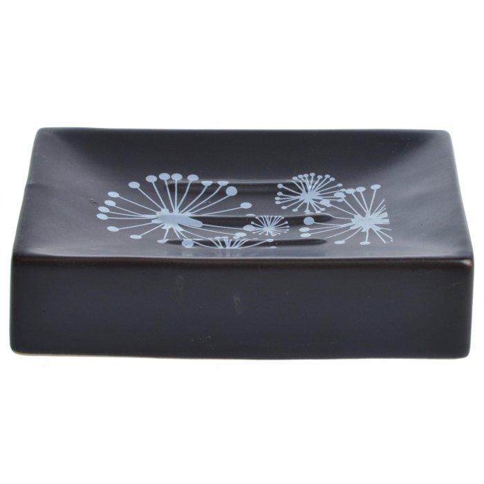 Ceramiczna mydelniczka prostokątna czarna 12x8,5cm