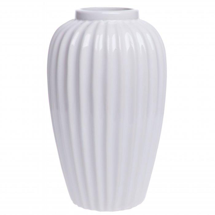 Ceramiczny wazon biały w prążki 20cm