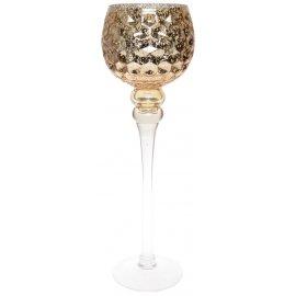 Szklany wazon wysoki złoty glamour wytłaczany 40cm